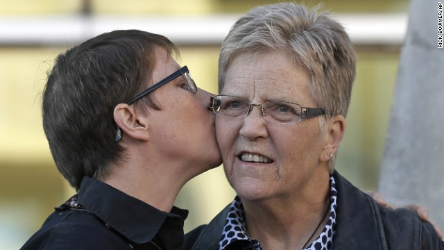 Kody Partridge, left, and Laurie Wood were among the original plaintiffs challenging Utah's ban on same-sex marriage.