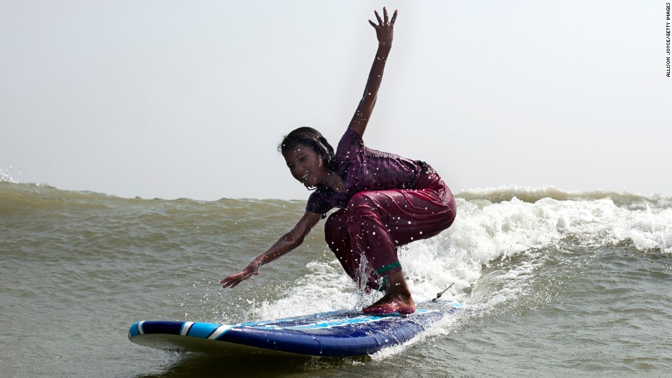 In the Islamic country of Bangladesh, male surfers greatly outnumber females, but more girls have recently been hitting the water. In the town of Cox's Bazar, the country's first surf school has been established.