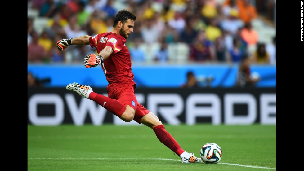 Orestis Karnezis of Greece takes a goal kick against the Ivory Coast.
