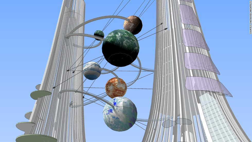 Three of the spheres in between the towers will serve as celestial-themed restaurants. There are also plans for a giant, wind-powered kaleidoscope.