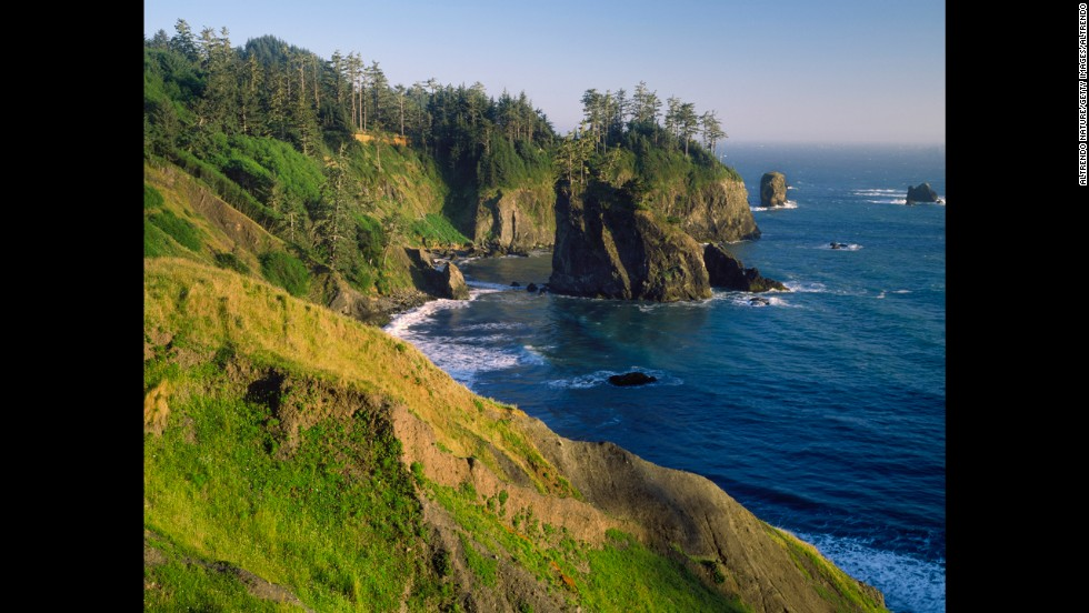 Sandy beaches are tucked among the steep cliffs of Oregon's Samuel H. Boardman State Scenic Corridor.