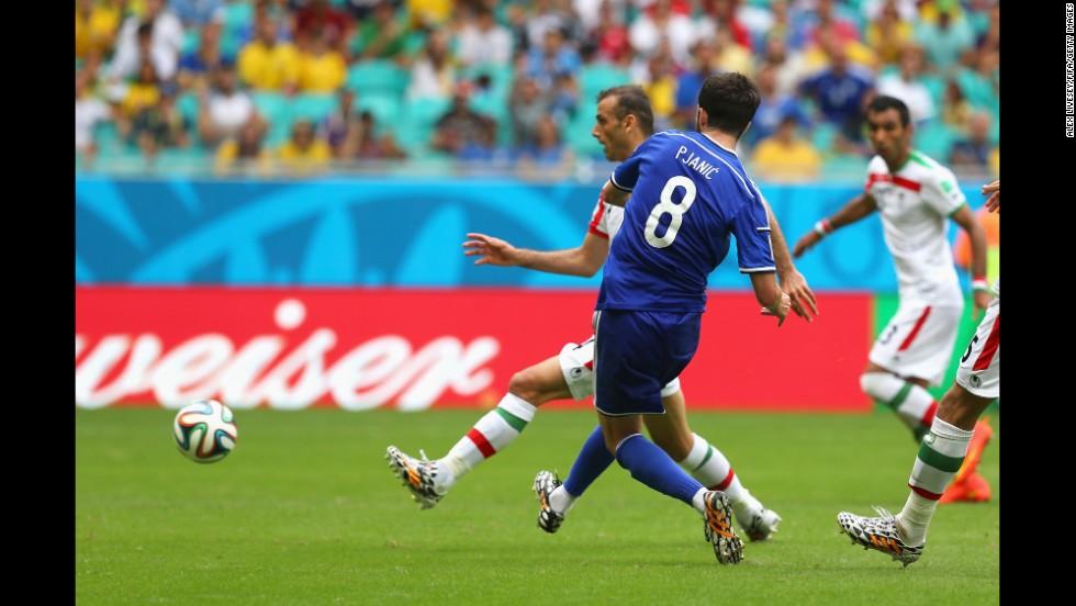 Miralem Pjanic of Bosnia-Herzegovina scores his team's second goal.