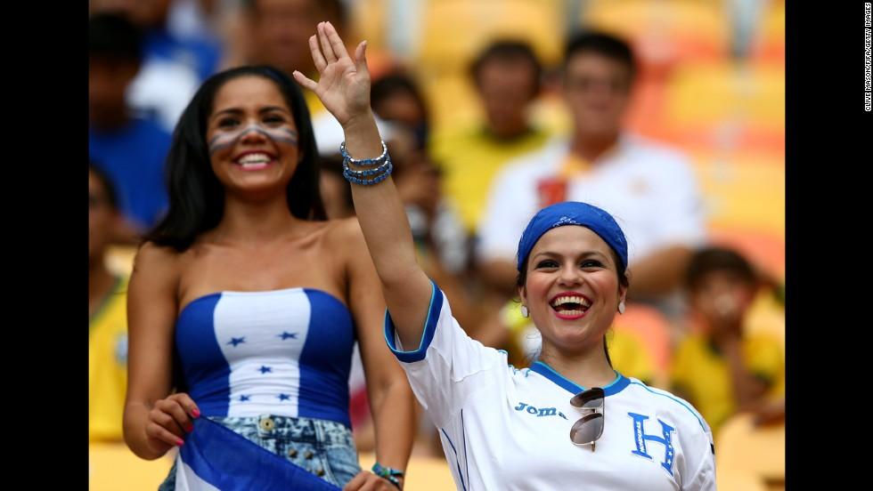 Honduras fans enjoy themselves before the match against Switzerland.