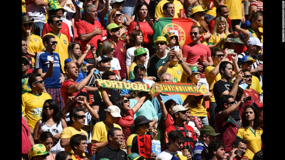 Portugal fans cheer before their team's game against Ghana.