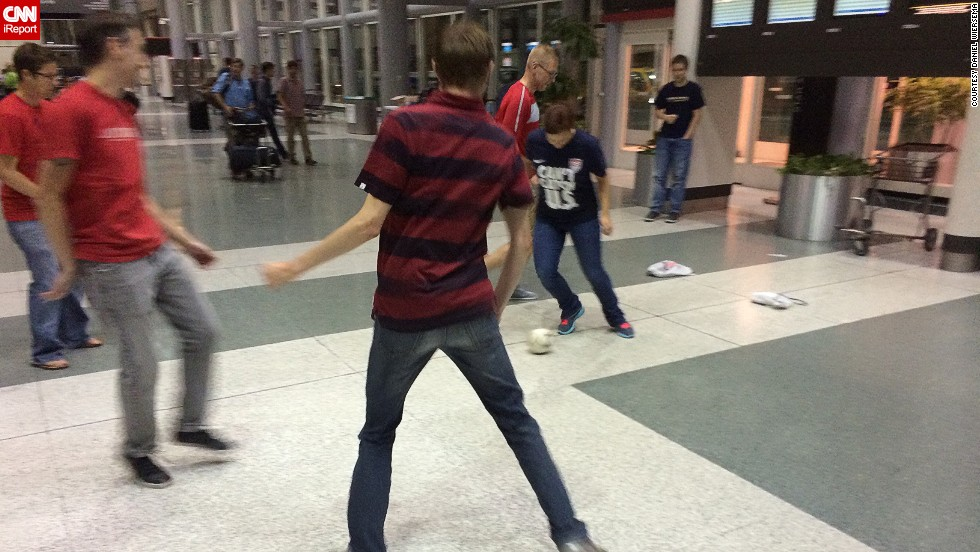 Airports are big places. There's definitely enough room for a game. Earlier this month, Daniel Wiersema, who belongs to American soccer fan club the American Outlaws, captured a shot of fellow members engaged in an impromptu football match at George HW Bush Airport in Texas. The group were en route to Brazil for the 2014 FIFA World Cup.
