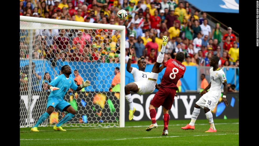 John Boye of Ghana gives up an own-goal against Portugal.
