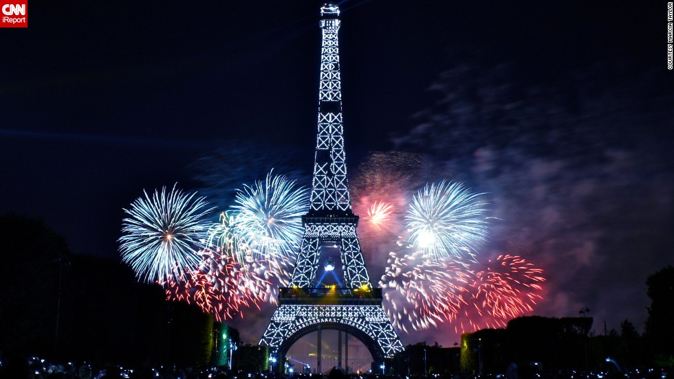 "The fireworks on Bastille Day are a must-see if you're in Paris. <a href=""http://ireport.cnn.com/docs/DOC-997446"">Marcia Taylor</a> attended the celebration for the first time in July 2012 and captured this display."