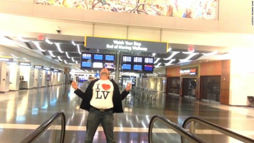 "When stranded traveler Richard Dunn found himself stuck overnight at Las Vegas' McCarran International Airport, he passed the time by shooting a music video of himself lip-synching the Celine Dion cover of ""All by Myself."" iReporters shared their tips for how to pass time when stranded at the airport."