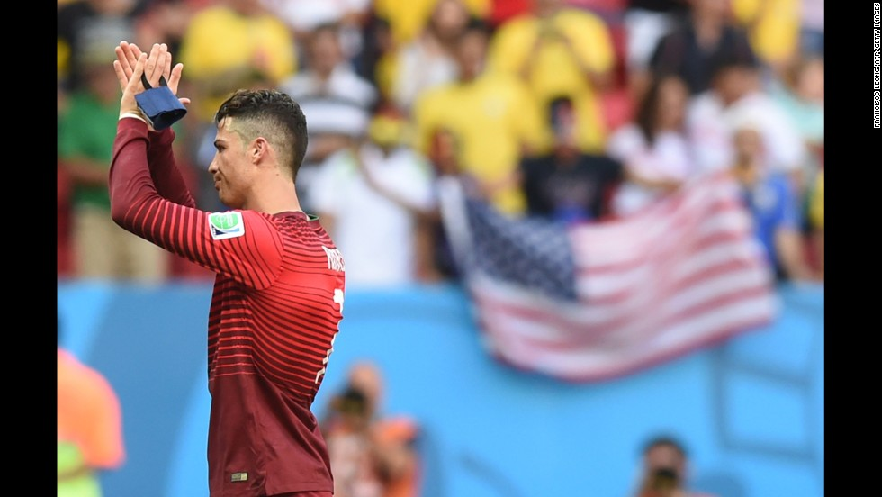 Portugal's Cristiano Ronaldo, the reigning Ballon d'Or winner, shows his appreciation for fans who attended the World Cup match against Ghana on Thursday, June 26. Portugal won the match 2-1 in Brasilia, Brazil, but the result was not enough to stay in the tournament.