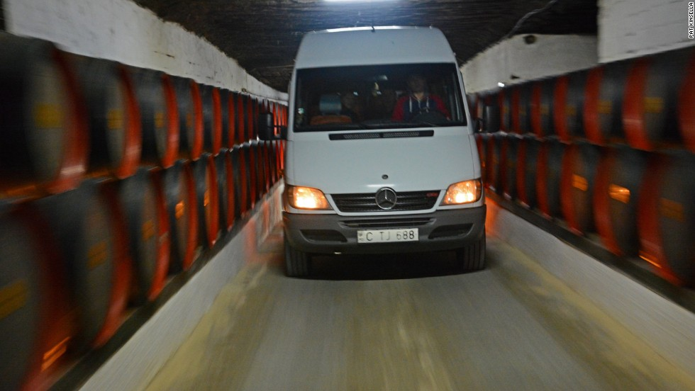 The underground cellars at Cricova in Moldova are so vast, sometimes it's better to drive.