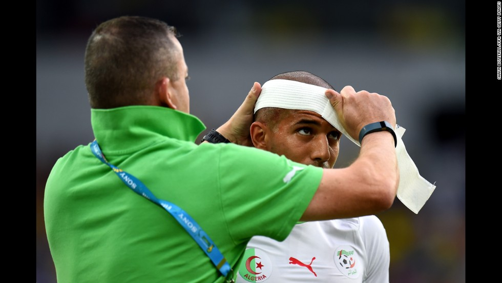 Sofiane Feghouli of Algeria receives a treatment.