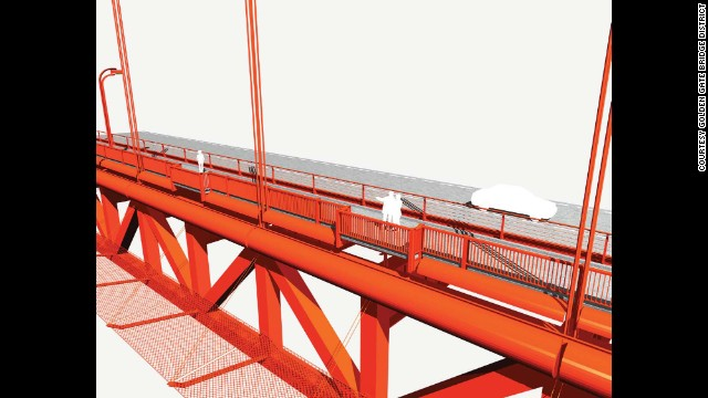 An artist's rendering from the proposal shows the orange barrier extending from the structure below deck.