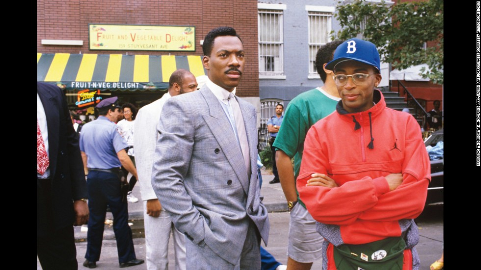 Among the set visitors was Eddie Murphy, left, then at the height of his fame. He and Lee, right, had a sometimes rocky relationship, with Lee criticizing Murphy for not using his clout to help African-Americans in the movie business.