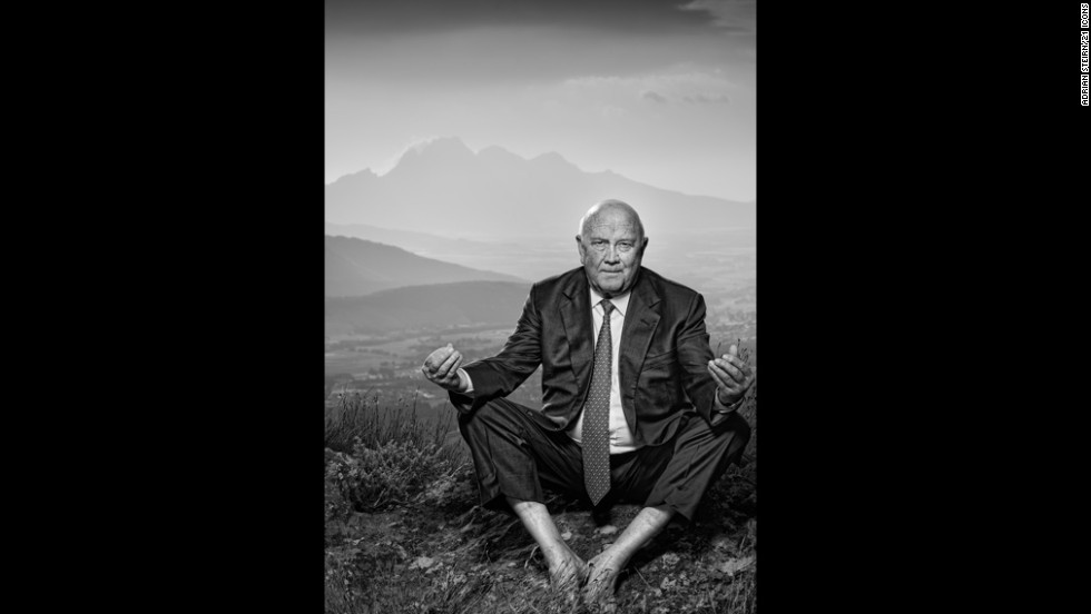 """<strong>F.W. de Klerk</strong><br /><br />He was South Africa's last white leader. A poignant reminder of a decisive turning point in the nation's history, <a href=""""http://amanpour.blogs.cnn.com/2013/12/05/f-w-de-klerk-talks-about-mandelas-passing/"""" target=""""_blank"""">de Klerk would go on to be awarded a Nobel Peace Prize</a>, sharing it with Nelson Mandela, for his efforts to end apartheid. Steirn explains that while his legacy remains polarizing, it was important for him to be featured in the 21 ICONS project. <br /><br />""""To the rest of the world, there was this public pressure on him and that time was just a representation of Apartheid government. To an English-speaking South African, he was 'where do we stand now?' To the black population, the colored population and the marginalized population: 'he oppressed us.' He was a man alone.<br /><br />""""He was an isolated man. What he did for his country -- he was not comfortable doing it, which is why I loved the pose. The lotus pose of peace and you can see he's not entirely comfortable doing it. But again, this is a reflection of what he went through,"""" interprets Steirn.<br /><br />He adds: """"We all know he was on top of an Apartheid government that had executed, that had killed people, and continued to do so to destabilize the country for a couple years. Mandela's genius was bringing together a country so divided. I wanted to show a portrait of a man that -- whatever you think of that man personally -- that part of his life was all about trying to do the right thing for South Africa."""""""