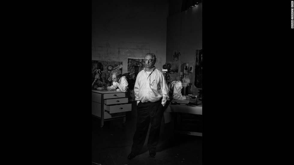 """<strong>William Kentridge</strong><br /><br />""""This was technically one of the most difficult portraits in the collection. It's one exposure and we flashed him moving about the room to get that exposure absolutely correct. But even though it was technically difficult, Kentridge himself was so enthused with the whole thing,"""" the project's principal photographer says.<br /><br />Steirn reveals that during the photo shoot, Kentridge -- <a href=""""http://edition.cnn.com/2010/WORLD/africa/07/27/william.kentridge/"""" target=""""_blank"""">one of South Africa's best-known artists</a> -- completely fell in love with the technical process of constructing the shoot. <br /><br />""""The narrative behind the portrait was his multimedia and him being so much a part of his work. It took 15 to 20 minutes to get right. We had producers counting him around the room, getting the times right,"""" expounds Steirn."""