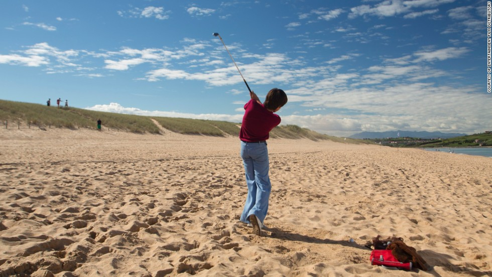 "Using dramatized recreations, ""Seve"" shows how Ballesteros learned the game by hitting pebbles with a makeshift golf club on the beach in his hometown of Padrena. The young Seve is played by José Luis Gutiérrez."