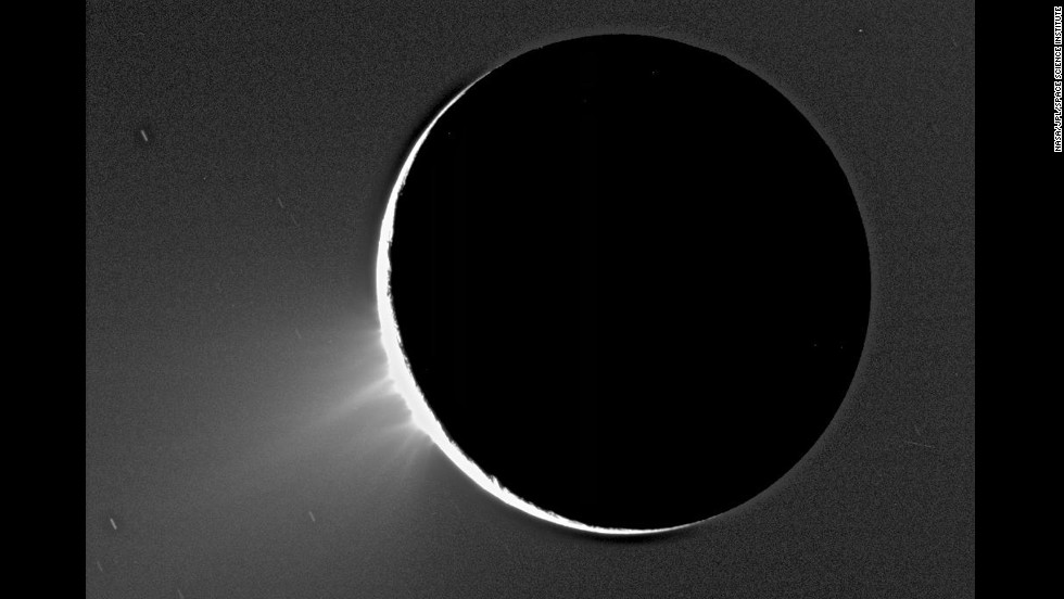 2. Icy plumes on Saturn's moon Enceladus. Here, the plumes can be seen back-lit by the sun.  The discovery was such a surprise that  the mission was completely reshaped to get a better look. Evidence of water-based ice in the plume excited scientists further, as life as we know it relies on water.