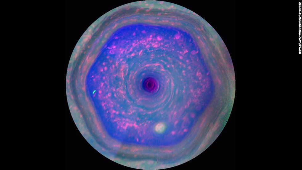 10. First complete view of the north polar hexagon and discovery of giant hurricanes at both of Saturn's poles. Saturn's polar regions have surprised scientists with the presence of a long-lived hexagonal-shaped jet stream in the north and hurricane-like storms at both poles. The driving forces of each remain a mystery.
