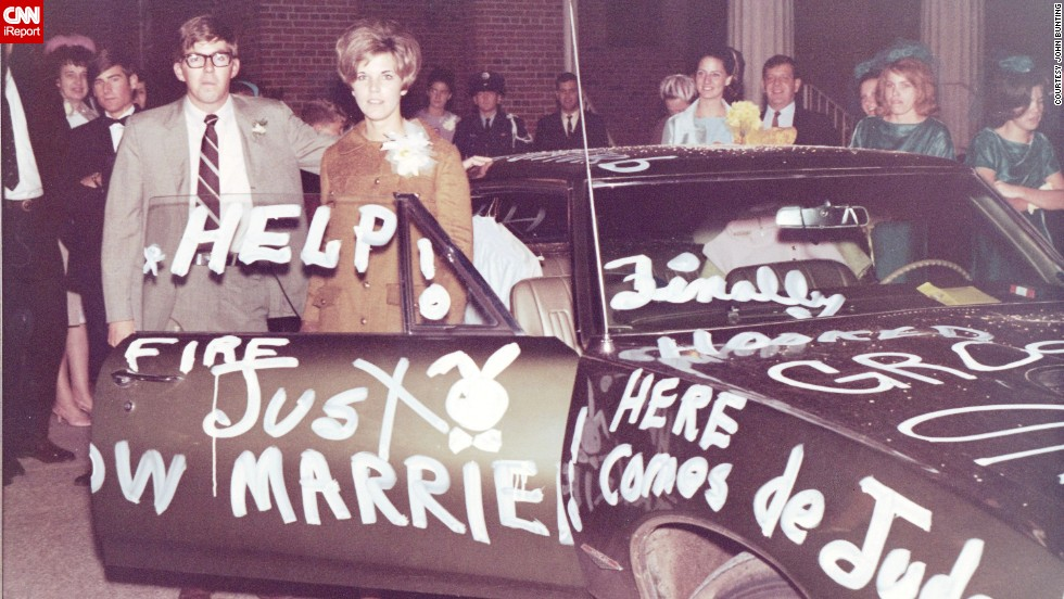 "<a href=""http://ireport.cnn.com/docs/DOC-1148014"">John Bunting</a> was lucky enough to own a few cars as a young man in the '60s, beginning when he was in high school. Here, Bunting and his wife Judy stand beside the decorated Pontiac on their wedding night, in 1968. He bought it brand-new that year for $4,200.<br />"