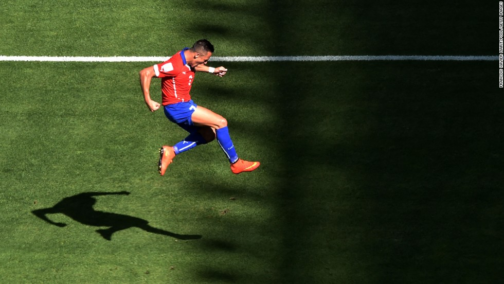 Alexis Sanchez of Chile celebrates after scoring his team's first goal.
