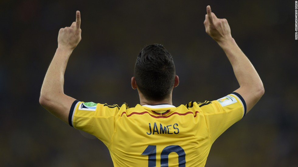 Colombia's James Rodriguez celebrates after scoring against Uruguay.