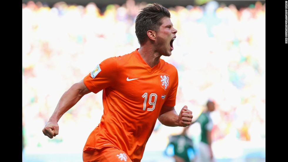 Klaas-Jan Huntelaar of the Netherlands celebrates scoring his team's second goal on a penalty kick near the end of the game against Mexico in Fortaleza, Brazil.