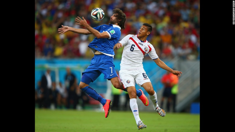 Georgios Samaras of Greece controls the ball against Oscar Duarte of Costa Rica.