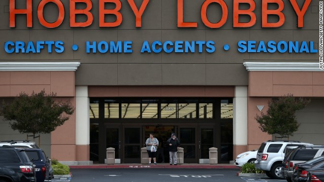ANTIOCH, CA - MARCH 25:  Customers leave a Hobby Lobby store on March 25, 2014 in Antioch, California. The U.S. Supreme Court is hearing arguments from crafts store chain Hobby Lobby about the Affordable Healthcare Act's contraceptive mandate and how it violates the religious freedom of the company and its owners.  (Photo by Justin Sullivan/Getty Images)