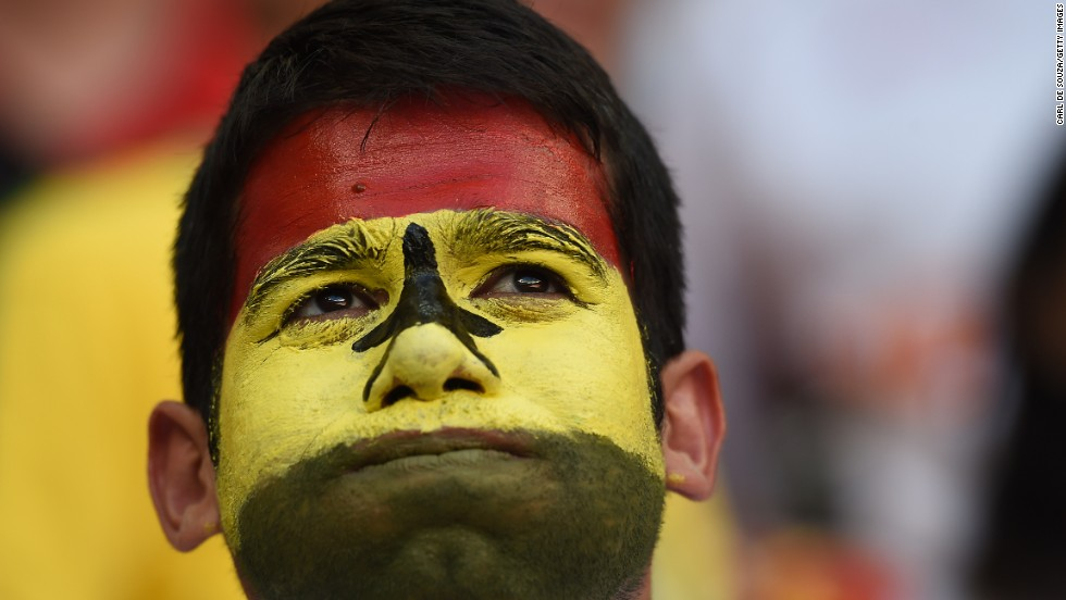 A Ghana fan reacts during the match in Brasilia, Brazil, between Portugal and Ghana on June 26. Portugal won 2-1, but neither team advanced to the next round.