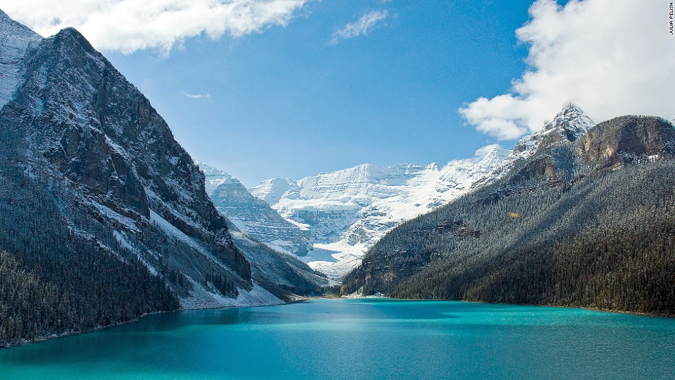 "An alpine lake with sparkling blue waters that are as cold as they look, Alberta's Lake Louise, in Banff National Park, sits at the base of a cluster of glacier-clad peaks. At about 2.5-kilometers long and 90-meters deep, the lake offers paddling in summer and one of the world's most stunning outdoor skating rinks in winter. <a href=""http://www.banfflakelouise.com/About-the-Area/Lake-Louise"" target=""_blank""><em><br />More info: Banfflakelouise.com</a></em><a href=""http://www.cnn.com/2013/11/26/travel/beautiful-ice-rinks/""><br />MORE: 10 of the world's most beautiful ice skating rinks</a>"