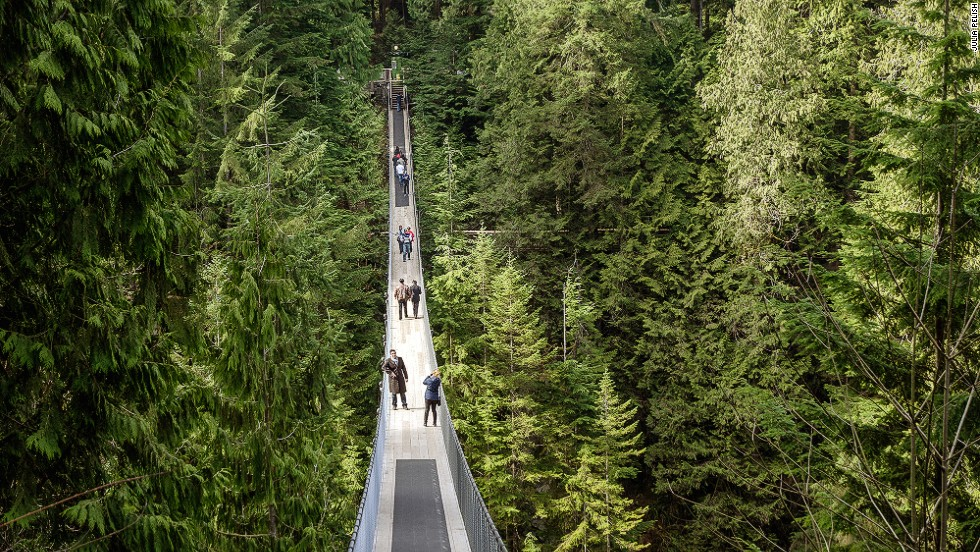 "British Columbia's Capilano Suspension Bridge is only a few minutes away from Vancouver's city center. Built in 1889, it stretches 137 meters across and 70 meters above the Capilano River. It's appeared in several TV shows, including ""MacGyver.""     <a href=""http://www.capbridge.com"" target=""_blank""><em><br />More info: Capbridge.com</a></em><a href=""http://travel.cnn.com/explorations/life/destinations/insider-guide-best-vancouver-881276""><br />MORE: Insider Guide: Best of Vancouver</a>"