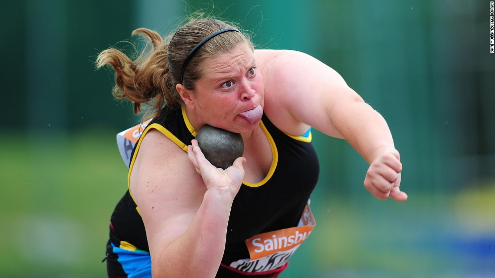 Sophie McKinna competes in the women's shot put final at the British Athletics Championships in Birmingham, England, on Saturday, June 28. Eden Francis won the event.