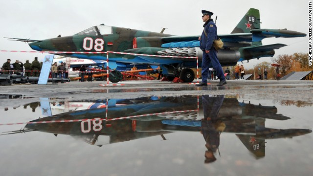 File photo:  The Su-25, pictured at a Russian air force base, was part of the Iraqi air force under Saddam Hussein's regime.