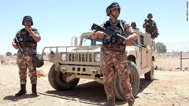Jordanian soldiers pictured on the country's border in this file image from June, 2014.