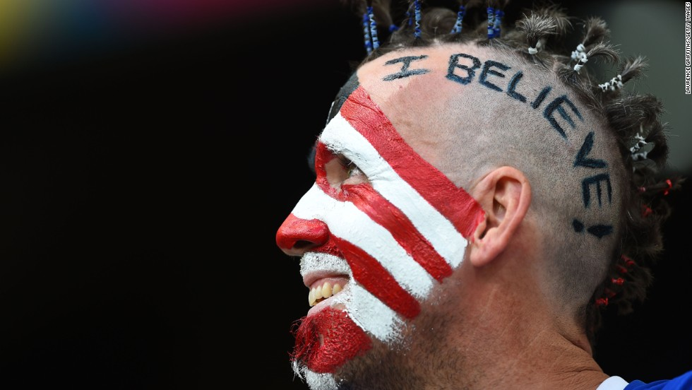 A U.S. fan is seen in Salvador on July 1.