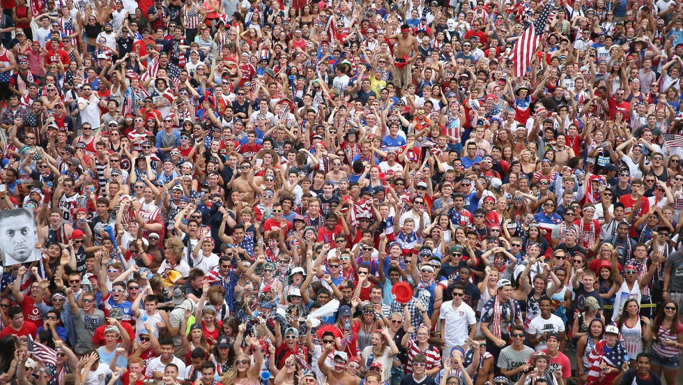 Fans gather at Chicago's Soldier Field to watch the U.S.-Belgium match.