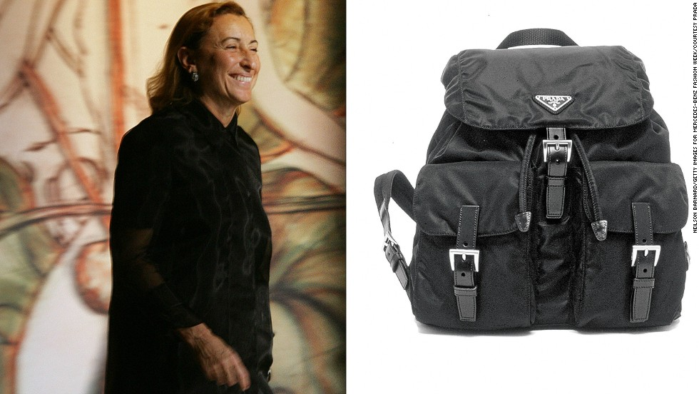 """<em>Miuccia Prada, nylon bag</em><br /><br />When Miuccia Prada joined her family's leather manufacturing business in 1978, she transformed the small, traditional company into a global fashion empire with her nylon bag. Her idea to design a luxury bag out of humble nylon was an unlikely choice for a high-end brand like Prada.<br /><br />""""The nylon bag was how the Prada name was made,"""" says Oriole Cullen, a fashion curator at the Victoria and Albert Museum in London. """"When she designed these very sleek, practical knapsacks out of inexpensive and durable material, it was something no one had ever done before, and the fashion world was really enamored with them."""""""