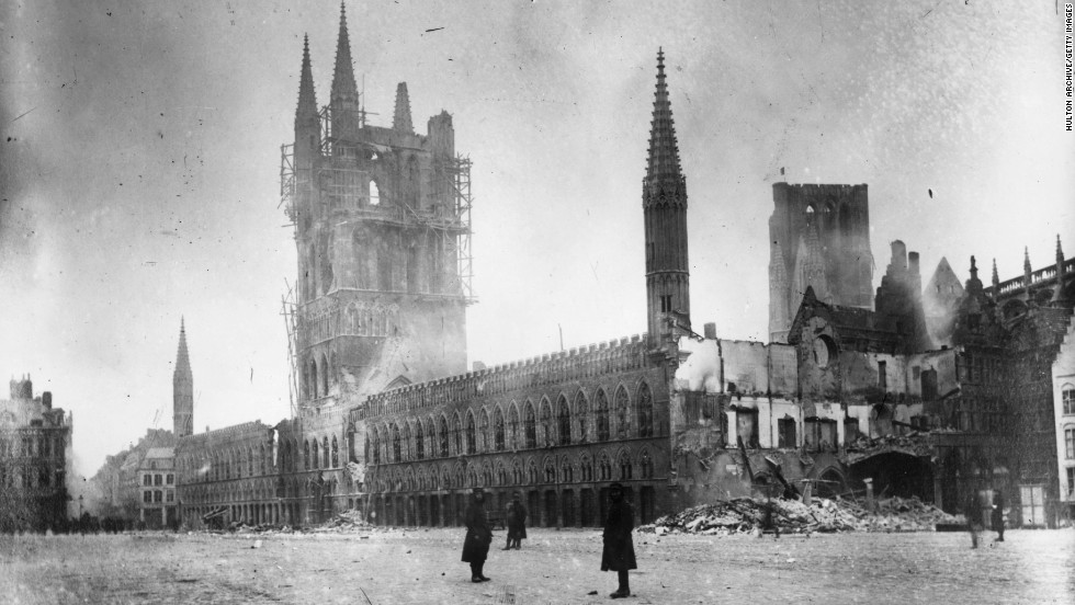 Ypres was badly damaged in the war and rebuilt in the decades that followed.
