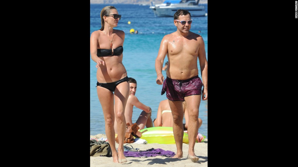 Kate Moss and husband Jamie Hince enjoyed Ibiza's sun and sand in June 2014.