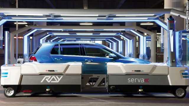 RAY, the robot  valet used to move cars at Dusseldorf airport, was made by German company Serva Transport Systems.