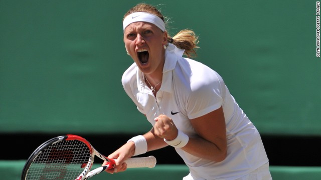 Czech Republic's Petra Kvitova celebrates winning the first set against Czech Republic's Lucie Safarova during their women's singles semi-final match on day ten of the 2014 Wimbledon Championships at The All England Tennis Club in Wimbledon, southwest London, on July 3, 2014. AFP PHOTO / GLYN KIRK - RESTRICTED TO EDITORIAL USE (Photo credit should read GLYN KIRK/AFP/Getty Images)