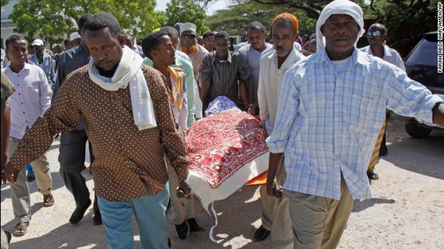 Somali members of parliament and well wishers carry the body of their fellow legislator Mohamed Mohamud Hayd, prior to his burial, in Mogadishu, Somalia.