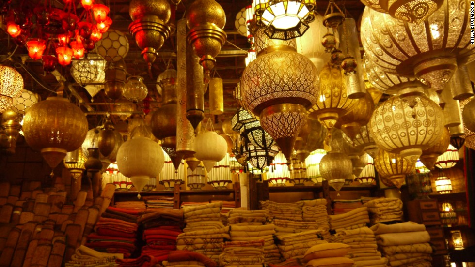Marrakech's warren of side streets and the sun-baked countryside beyond the city are home to numerous hidden attractions. This lamp bazaar can be found in the old medina.