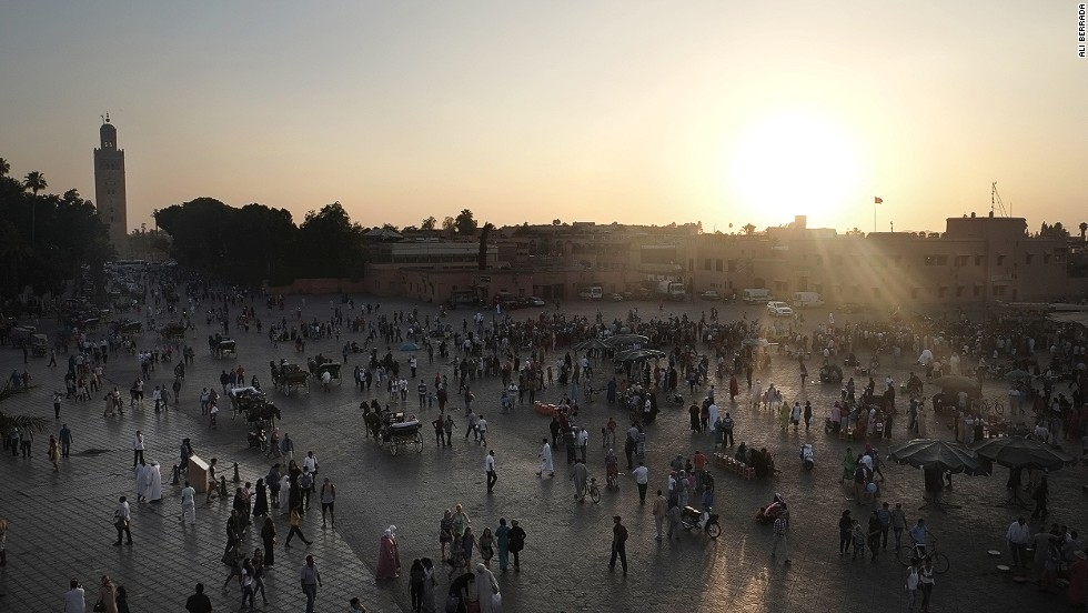The rooftops of cafes and restaurants surrounding Jemaa el-Fna offer commanding views of the marketplace and glorious sunsets.