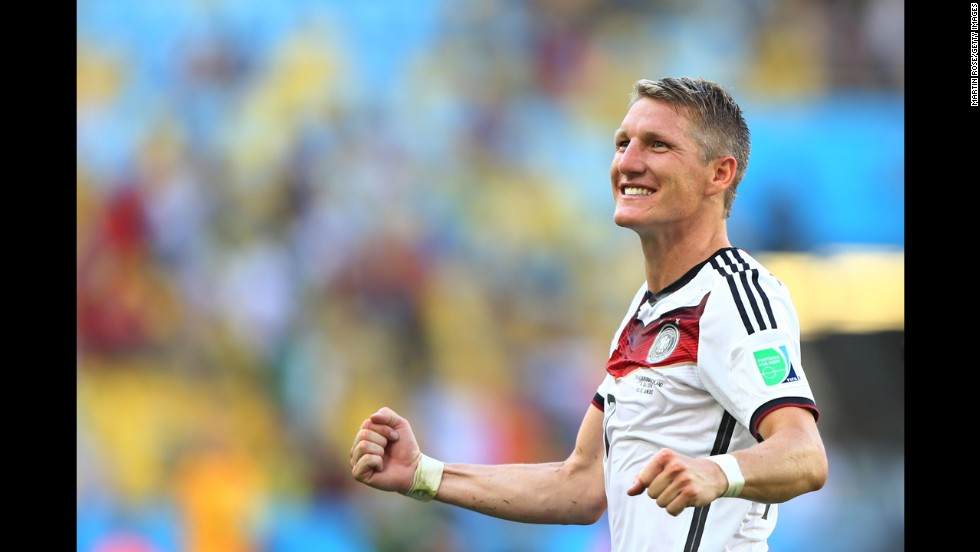 Germany's Bastian Schweinsteiger celebrates his team's 1-0 victory over France in a World Cup quarterfinal match in Rio de Janeiro.