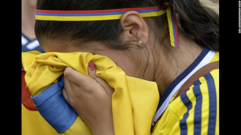 A Colombia fan cries in Medellin, Colombia, after the team lost to Brazil.