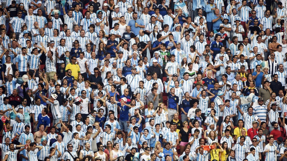 Argentina fans cheer during the match against Belgium at the Mané Garrincha National Stadium.