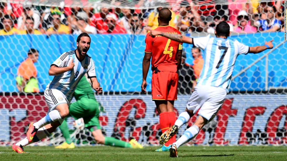 Gonzalo Higuain of Argentina, left, celebrates his goal against Belgium in a World Cup quarterfinal match Saturday, July 5, in Brasilia, Brazil. It was the only goal of the match.