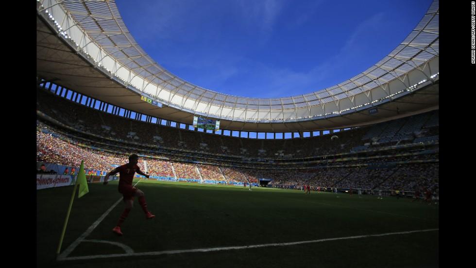 Belgium midfielder Kevin De Bruyne takes a corner.