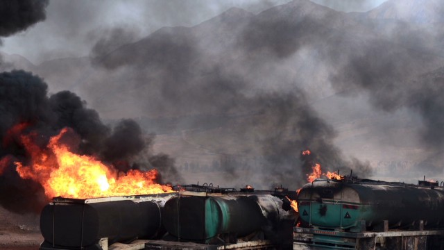 Fuel trucks ablaze in Afghanistan